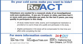 Urgent Care New Orleans - Cold Sores Clinical Trial Study
